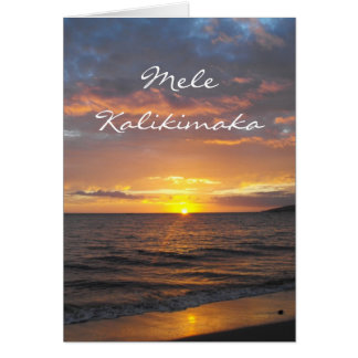 Tarjeta Puesta del sol de Maui Hawaii, Mele Kalikimaka,
