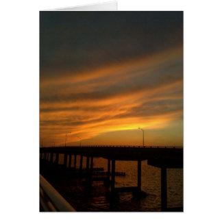 Tarjeta Puesta del sol de Tampa en el terraplén