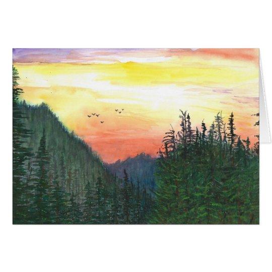 Tarjeta Puesta del sol del bosque de Oregon