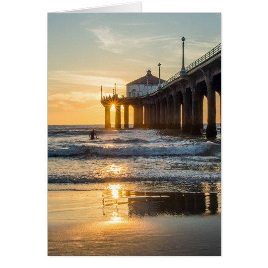 Tarjeta Puesta del sol del embarcadero de Manhattan Beach