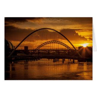 Tarjeta Puesta del sol en el Tyne