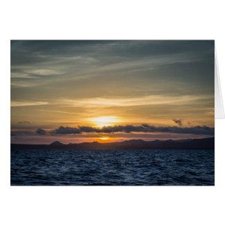 Tarjeta Puesta del sol en la isla de Bartolome