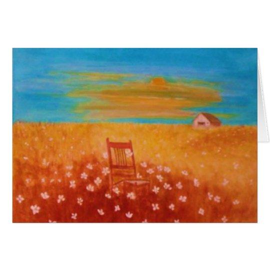 Tarjeta Puesta del sol en los campos