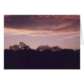 Tarjeta Puesta del sol Notecard #1 del molino de viento