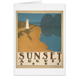 Tarjeta Puesta del sol notecard de agosto de 1903