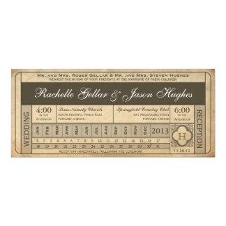 Tarjeta Punchout del boleto III del boda del vintage