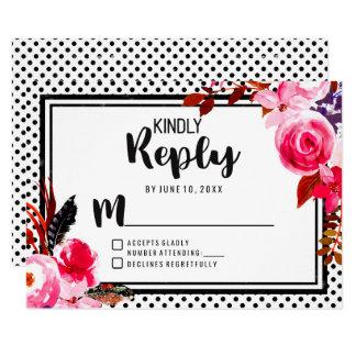 Tarjeta Puntos florales de Boho y negros rosados que casan