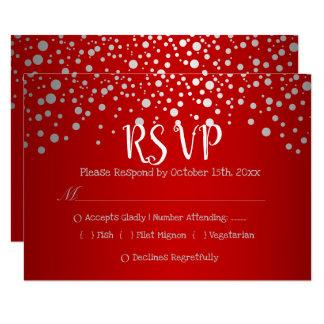 Tarjeta Puntos rojos y de plata del confeti - RSVP