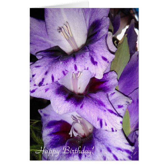 Tarjeta púrpura adaptable del feliz cumpleaños del