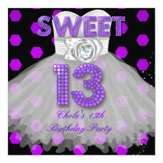 Tarjeta Púrpura adolescente de las chicas marchosas 13 del