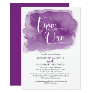 Tarjeta Púrpura cristiana de la acuarela del boda