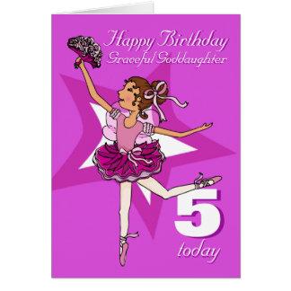 Tarjeta púrpura de la edad 5 del cumpleaños de la