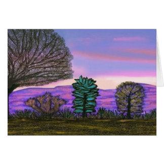 Tarjeta púrpura de la puesta del sol de Nevada