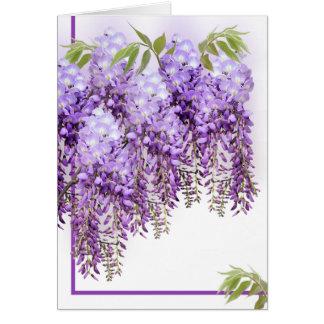 Tarjeta púrpura de las glicinias