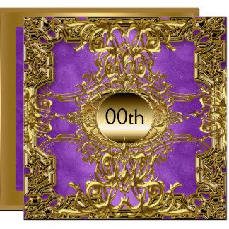 Tarjeta Púrpura de lujo del oro cualquier fiesta de