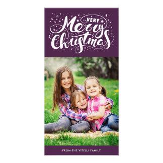Tarjeta Púrpura de Photocard el | de las Felices Navidad
