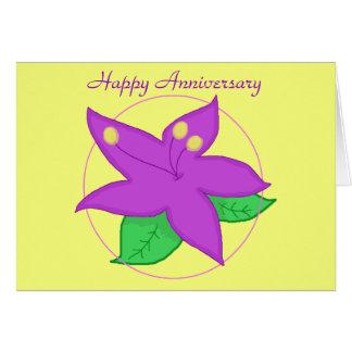 TARJETA púrpura del ANIVERSARIO de la flor