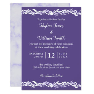 Tarjeta Púrpura del boda ultravioleta y blanco simples