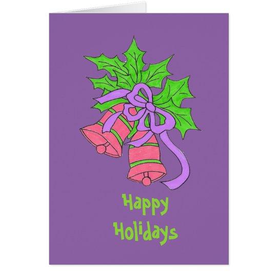 Tarjeta púrpura del día de fiesta
