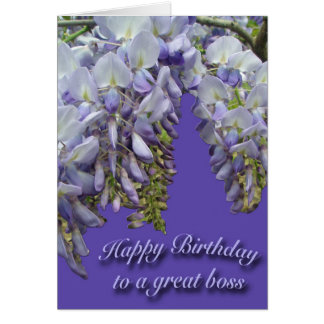 Tarjeta púrpura del feliz cumpleaños de Boss de
