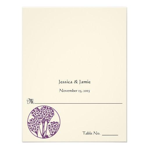 Tarjeta púrpura del lugar de la tabla del boda de  comunicados personales