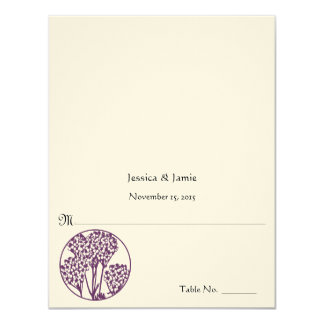 Tarjeta púrpura del lugar de la tabla del boda de invitación 10,8 x 13,9 cm