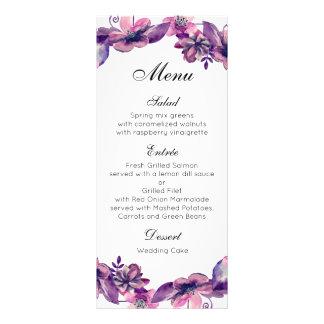 Tarjeta púrpura del menú de la flor de boda del