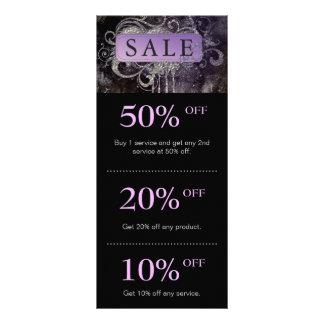 Tarjeta púrpura del promo del negro del salón del