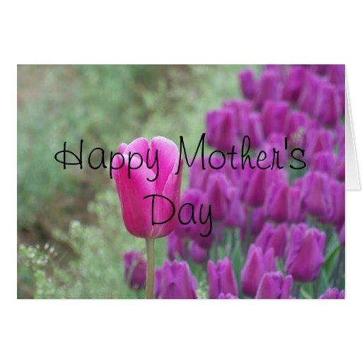 Tarjeta púrpura feliz de los tulipanes del día de