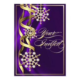 Tarjeta púrpura Jeweled del día de fiesta del copo Invitación 12,7 X 17,8 Cm