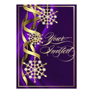 Tarjeta púrpura Jeweled del día de fiesta del copo