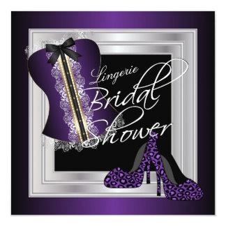 Tarjeta Púrpura nupcial de la ducha el | de la ropa