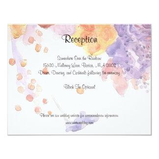 Tarjeta púrpura y anaranjada de la recepción de la invitación 10,8 x 13,9 cm