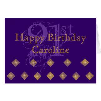 Tarjeta Púrpura y cumpleaños del oro 21ro