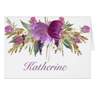 Tarjeta Púrpura y flores Notecards de la acuarela del oro