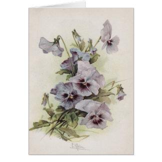 Tarjeta Púrpura y pensamientos de Lavendar