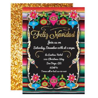 Tarjeta Purpurina mexicano del oro del fiesta de Feliz