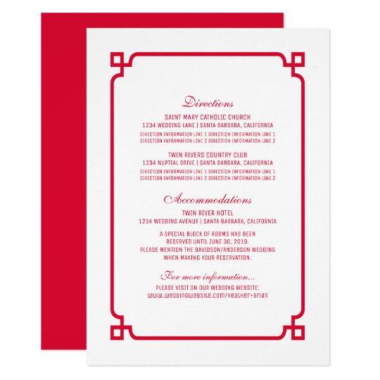 Tarjeta que se casa elegante roja de Deco Info Invitación 11,4 X 15,8 Cm