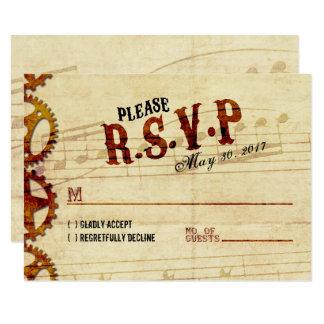 Tarjeta que se casa musical de Steampunk RSVP