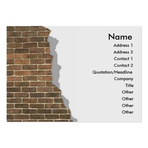 Tarjeta quebrada del perfil de la pared de ladrill tarjetas de visita