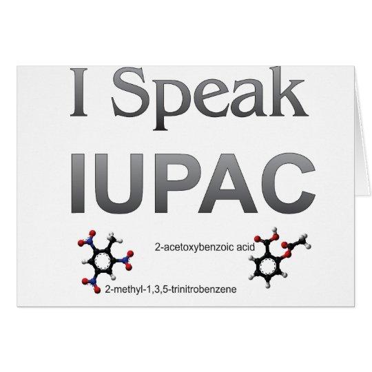 Tarjeta Química pura y aplicada de la unión internacional