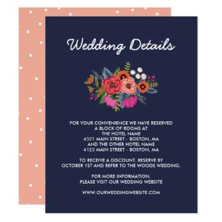Tarjeta Ramo bohemio - detalles del boda de los azules