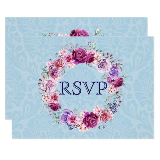 Tarjeta Ramo floral RSVP del rosa A-1 y de Borgoña