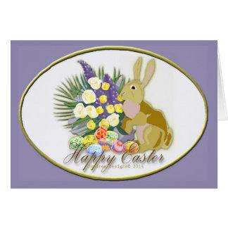 Tarjeta Ramo, huevos y conejo de Pascua
