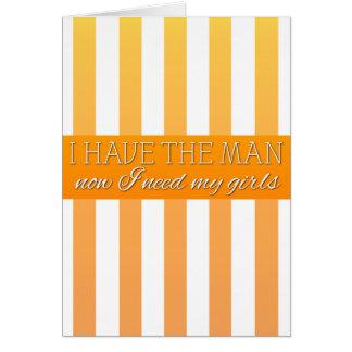 Tarjeta rayada crema anaranjada de la petición de