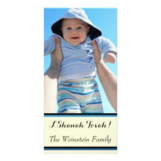 Tarjeta rayada de la foto de Rosh Hashanah