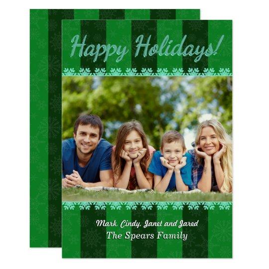 Tarjeta rayada de la foto del navidad del fondo de invitación 12,7 x 17,8 cm
