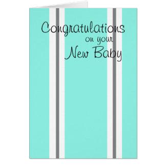 Tarjeta rayada de la nueva enhorabuena del bebé