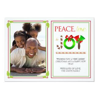 Tarjeta rayada moderna de la foto del navidad de invitación 12,7 x 17,8 cm