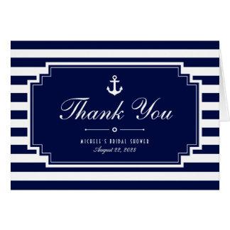 Tarjeta Rayados náuticos azules quebradizos le agradecen